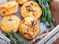 Рецепта Солени мъфини с шунка и сирене моцарела